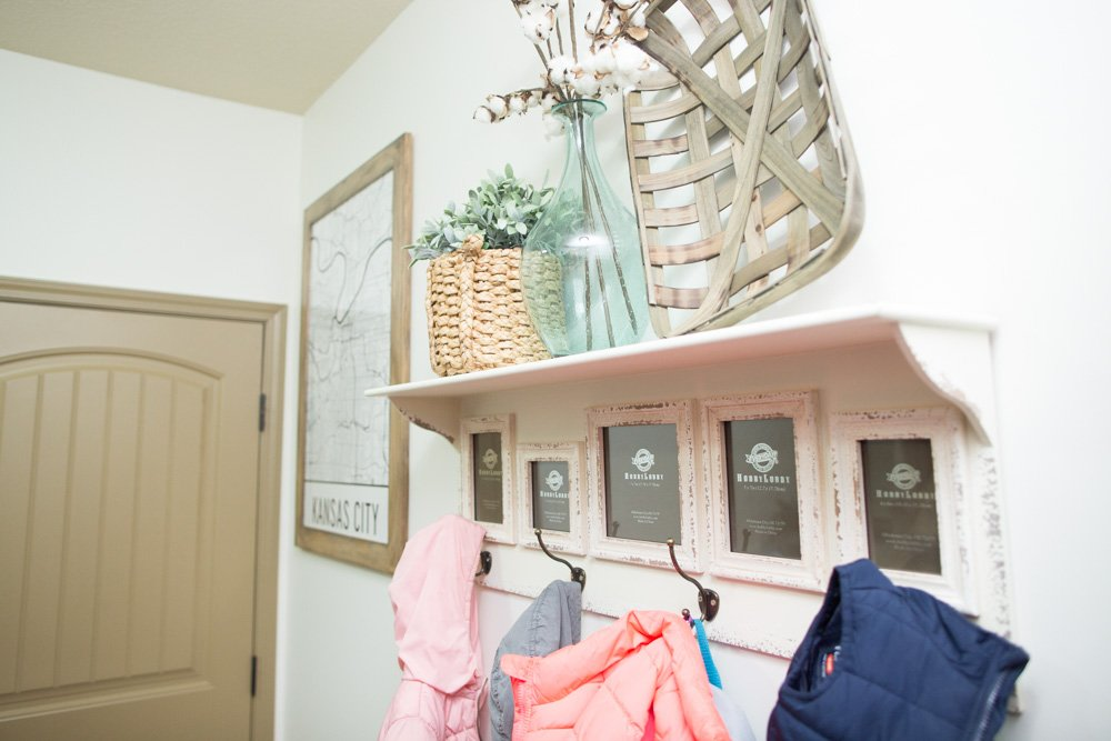 Mudroom Laundry Room Art with a DIY Distressed Wood Frame