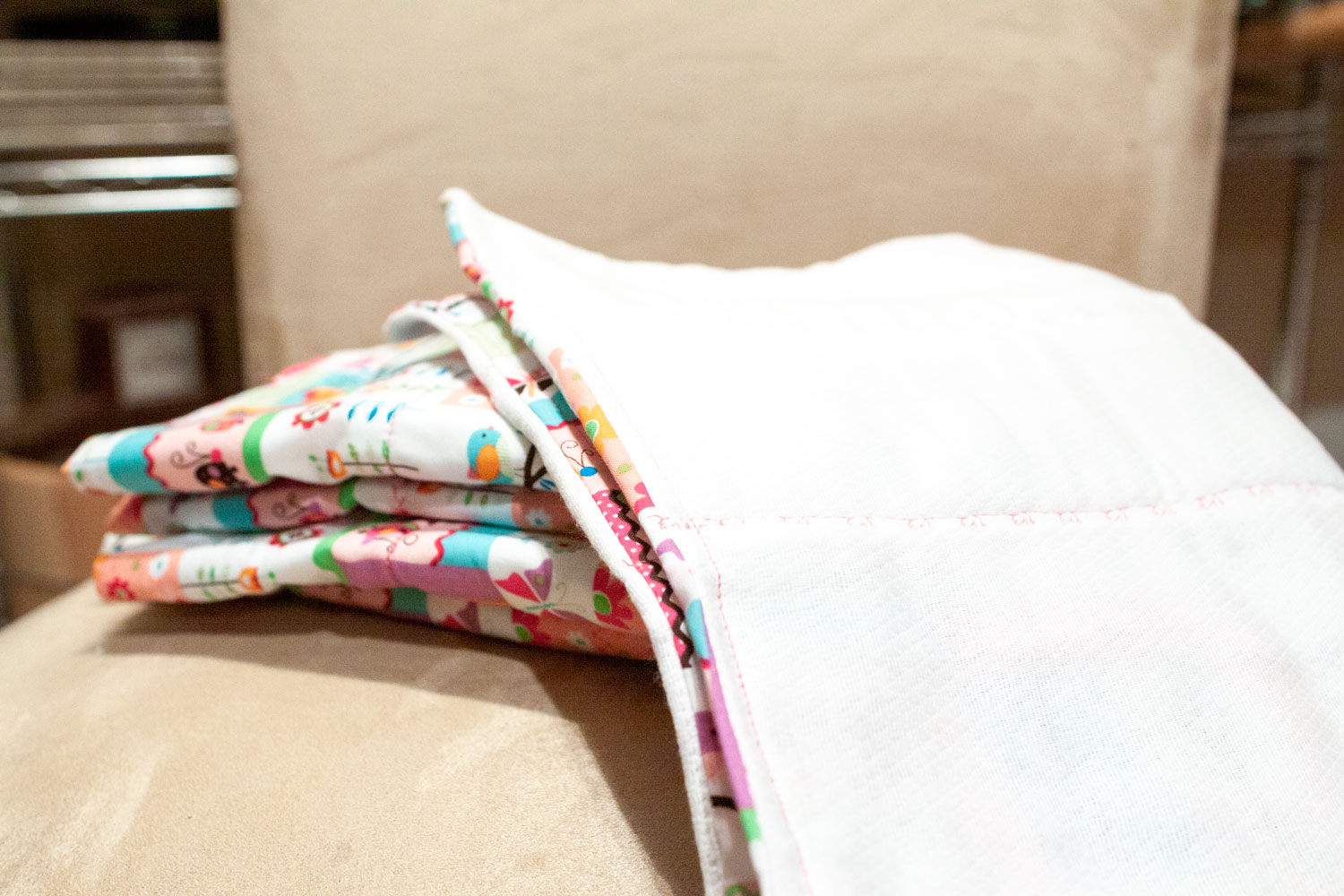 DIY baby burp cloths with diapers