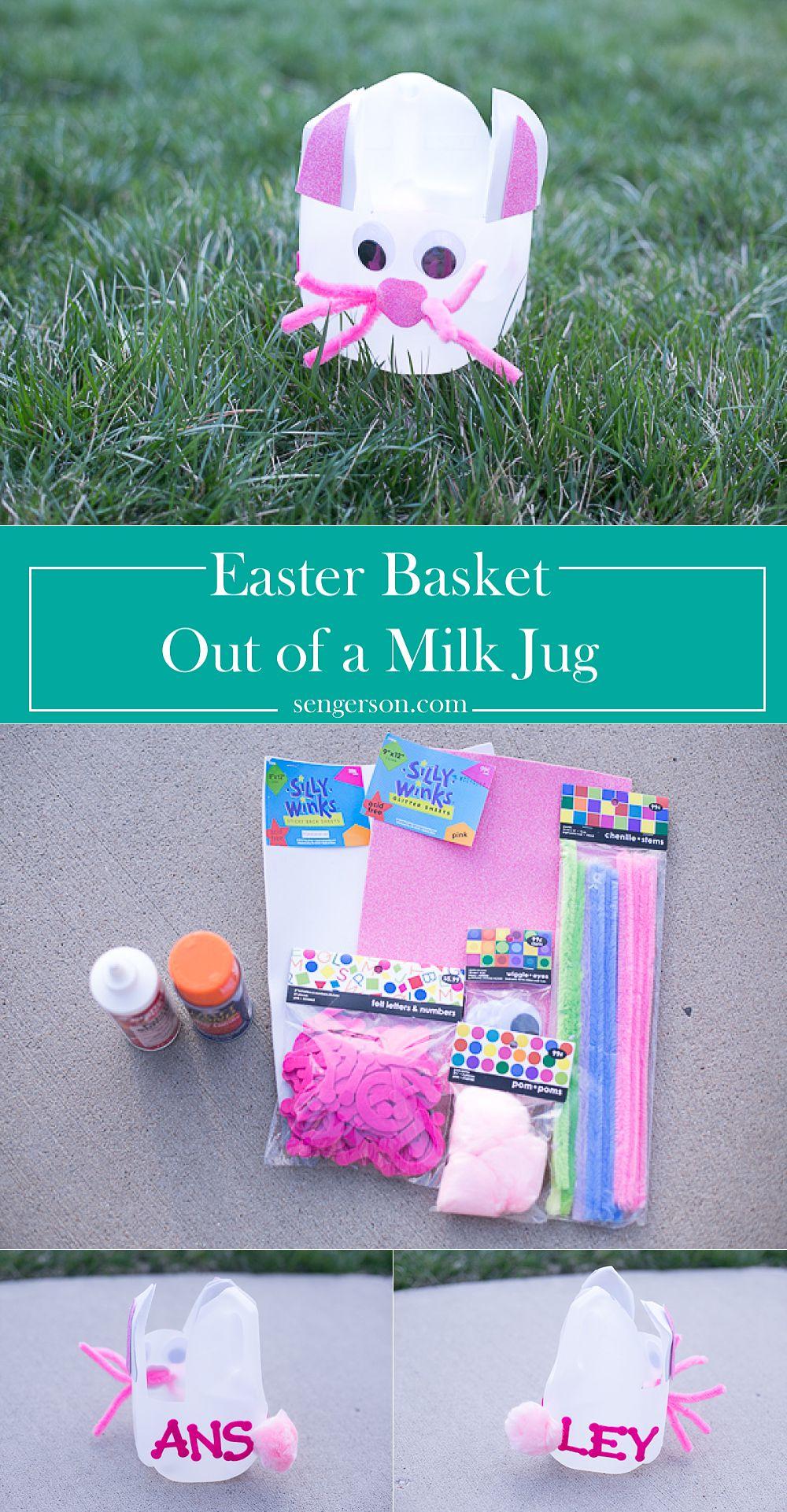 Diy easter basket out of milk jug easy milk jug easter basket kids craft idea negle Image collections