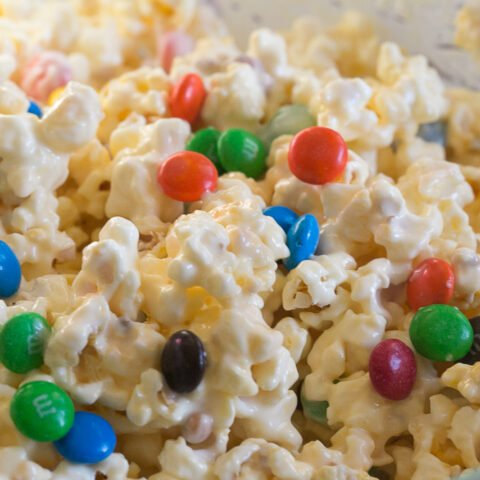 White Chocolate Popcorn and M&Ms