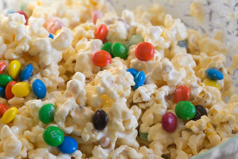 Delicious white chocolate and M&Ms mixed together. So good!