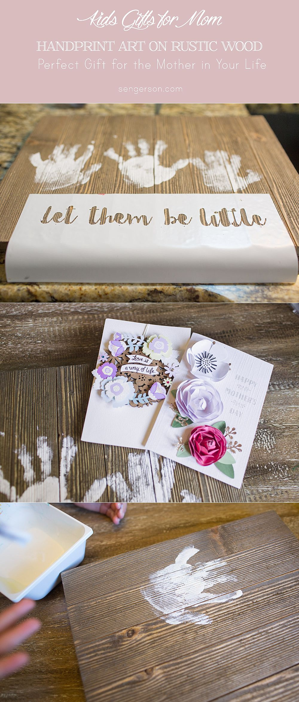 let them be little handprint wood art sign