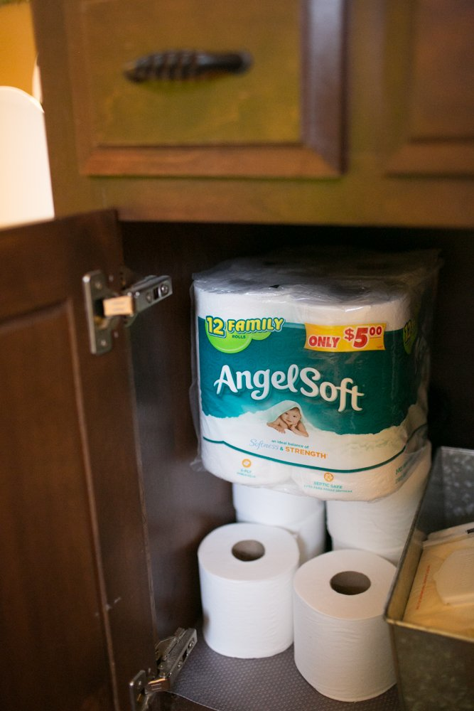 Bath tissue underneath the sink is key! Avoid the awkward questions before hand, make sure you have enough Angel Soft® bath tissue on hand.