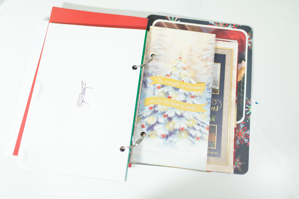 What to do with old christmas cards directions on binding christmas cards into a photo album m4hsunfo