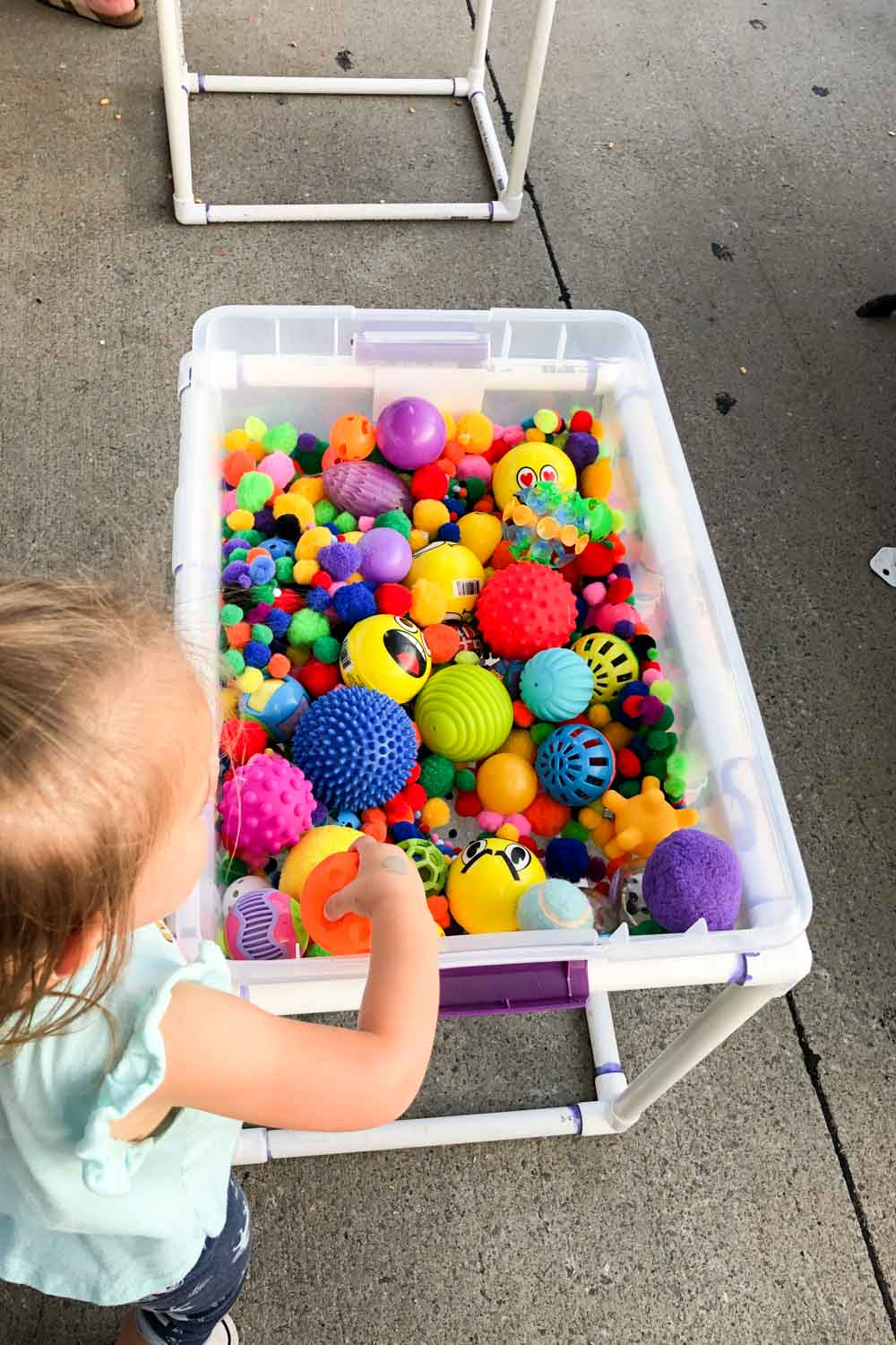diy sensory table with pvc for kids