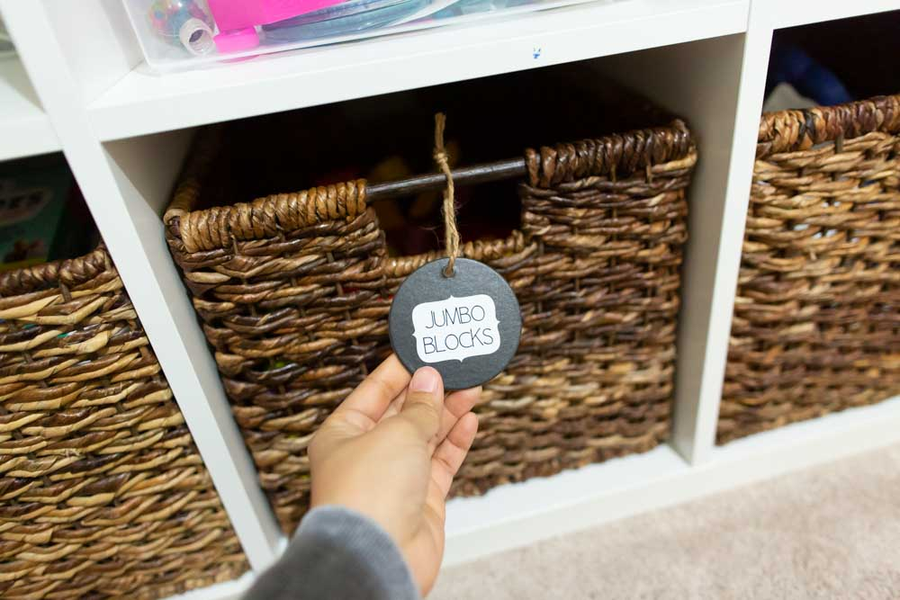 toy room organization with customized labels