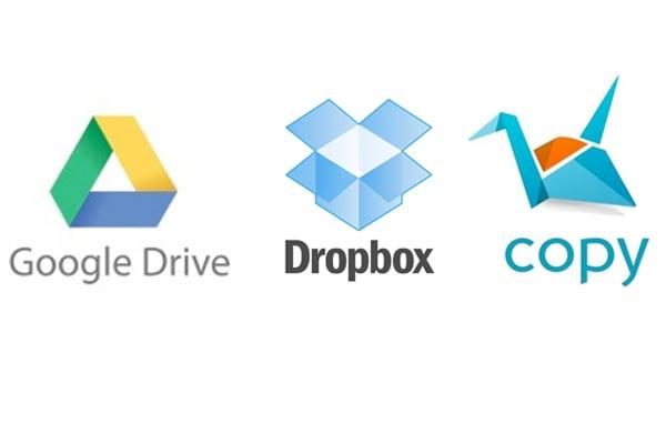 free storage, cloud sync, copy, dropbox, and google drive