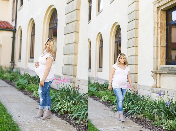 dress the bump style the bump boyfriend jeans with pink tshirt