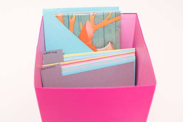 Box for greeting cards - no more running to the store last minute - build up your card stash and store them in style - www.sengerson.com.