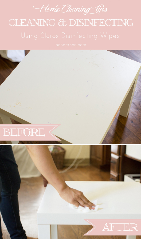 Using Clorox Disinfecting Wipes to clean