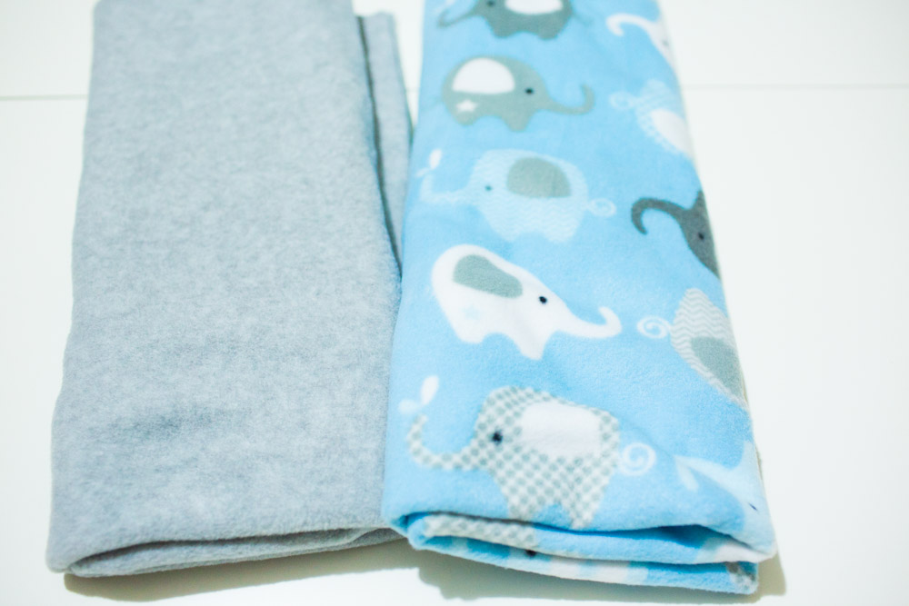 No Sew Fleece Baby Blanket supplies constrasting fleece