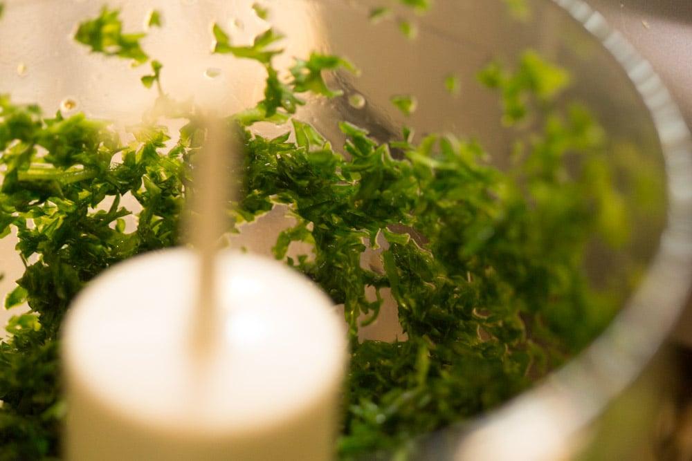 Leftover Spaghetti Recipe mincing parsley