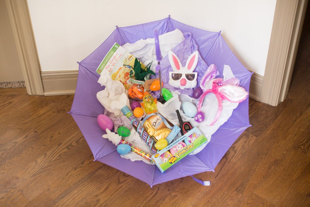 Umbrella basket for easter fun alternative to this annual tradition umbrella basket for easter negle Images
