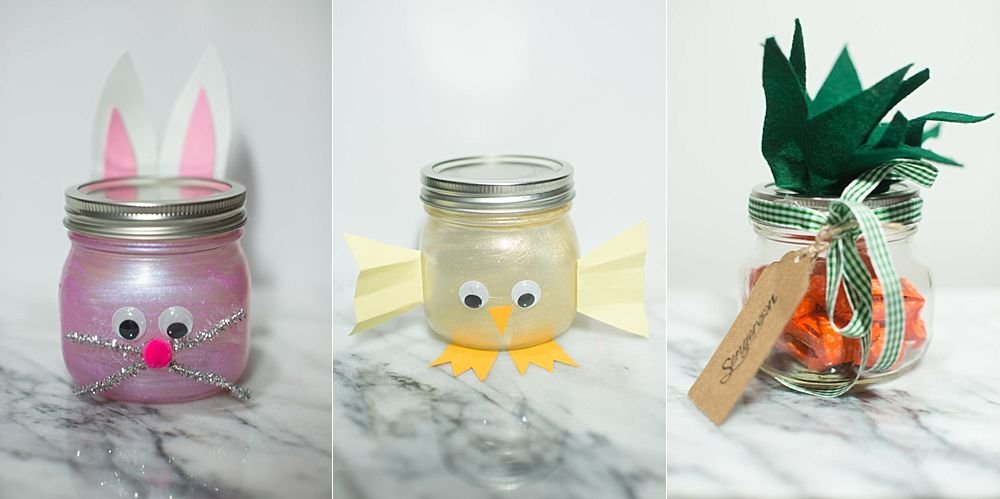 mason jar crafts for easter bunny baby chick and carrot