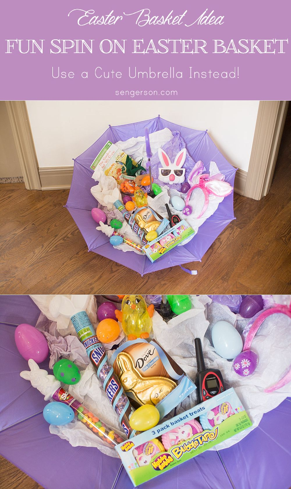 Fun twist on a traditional Easter basket. Fill an umbrella with Easter goodies!