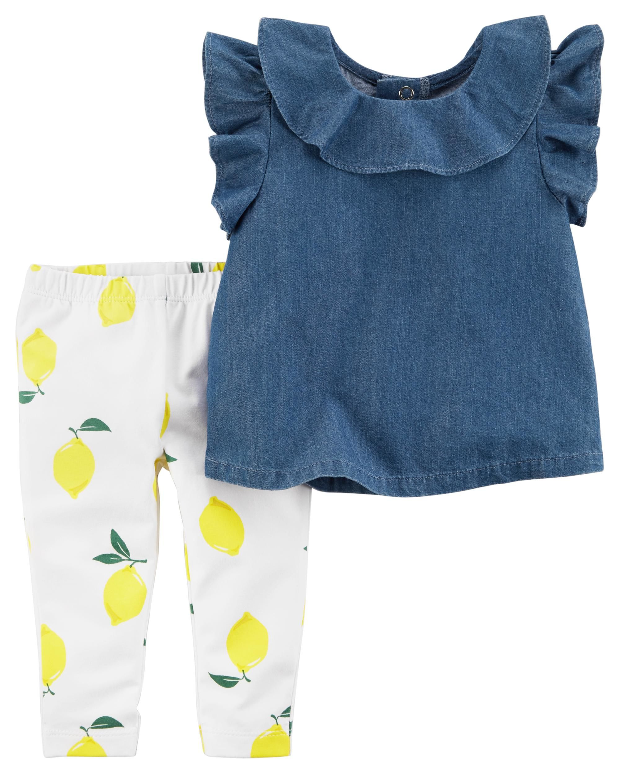 chambray and lemon legging set babies
