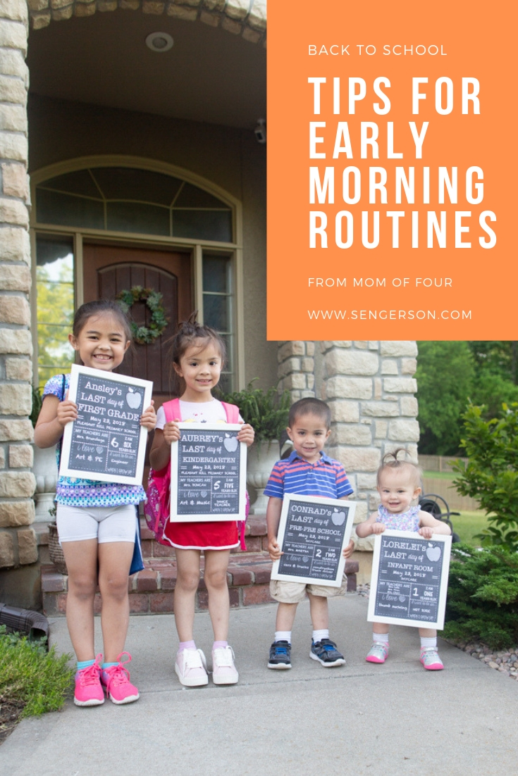 back to school morning routine with four kids