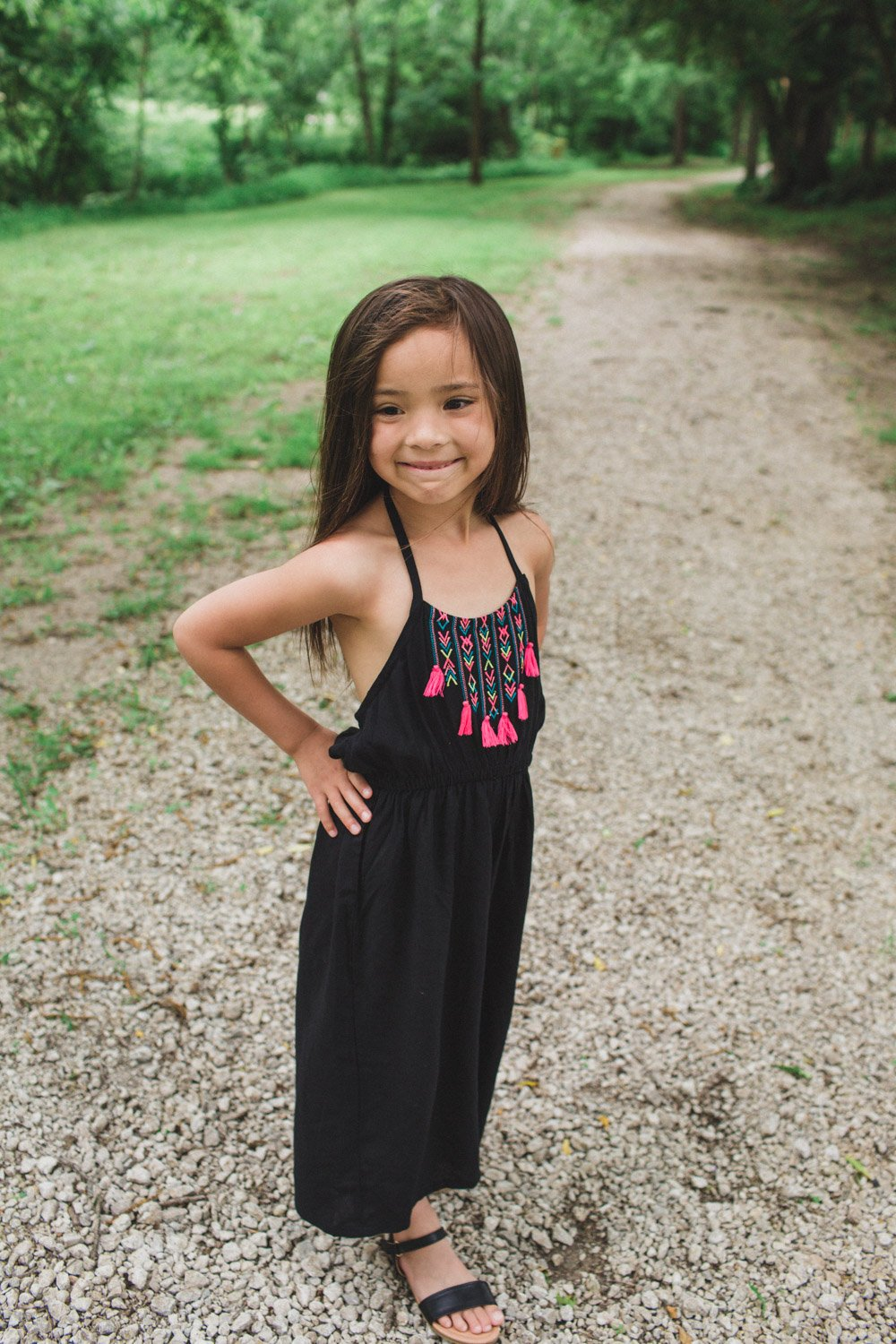 Safari Jungle Themed Jumpsuit for 7 Year Old Girl - Embroidered halter jumpsuit that all kids will love!