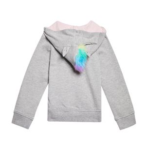 unicorn grey hoodie with fur for girls