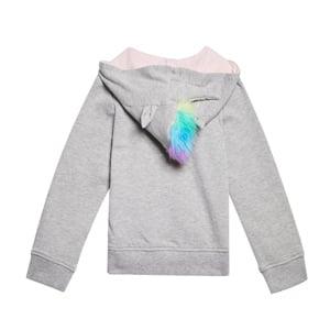 unicorn grey hoodie with fur for girls