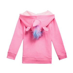 unicorn pink hoodie with fur for girls