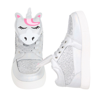 unicorn high top silver glitter