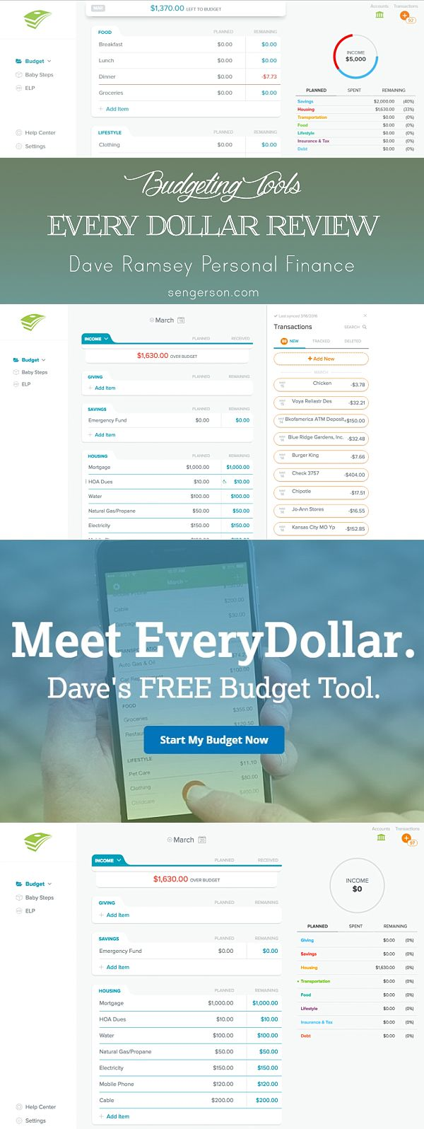 Every Dollar budgeting tool review. Great personal finance budgeting tool that is accessible online (from any computer) and device. Allows you to track your finances on the go and make sure you stay on track for big kid goals :)