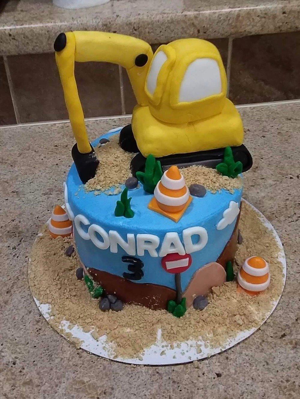construction truck birthday cake