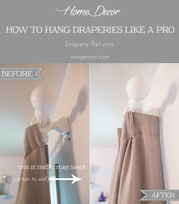 how to hang draperies like a designer - Drapery hanging tips with correct way to hang curtain ideas with pictures. By using curtain side hooks, it allows drapes to hang and look like they were professionally done. This tutorial shows you how to drape curtains with proper curtain lengths, including what traverse drapes look like.