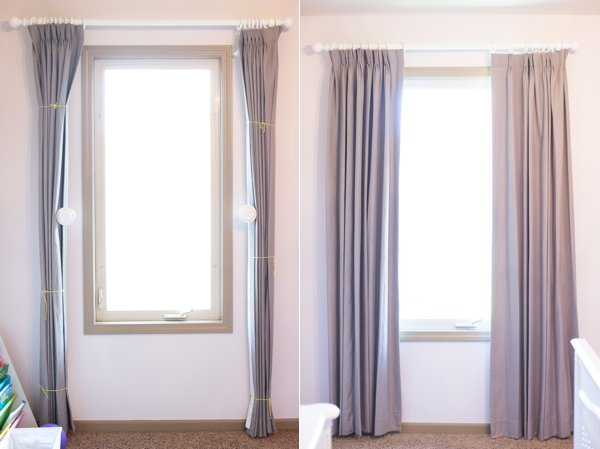 train your curtains - Drapery hanging tips with correct way to hang curtain ideas with pictures. By using curtain side hooks, it allows drapes to hang and look like they were professionally done. This tutorial shows you how to drape curtains with proper curtain lengths, including what traverse drapes look like.