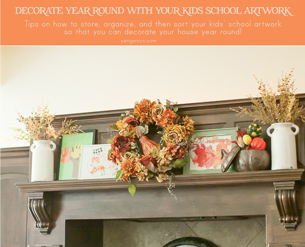 Fall decor (and any season really) - Use kids school artwork to decorate your home. The blogger also showcases how she organizes artwork (in an easy way for busy parents). Since daycare and preschool always do art based on celebrations and holidays - why not save them and use them to decorate the house and incorporate in a subtle way with all the other decor! Great conversation starters.