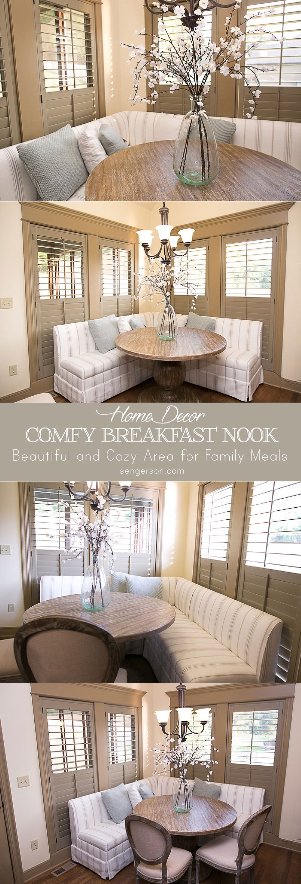 Beautiful and gorgeous breakfast and dining nook ideas to make family meals fun and cozy. From lifestyle blogger at sengerson.com.