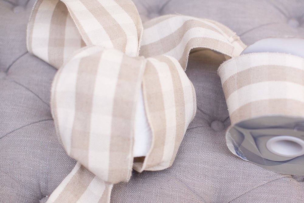 Oversized Ribbon and Rag Ball Torn Linen Fabric Wrapped In Toilet Paper for a Fun Holiday Look!