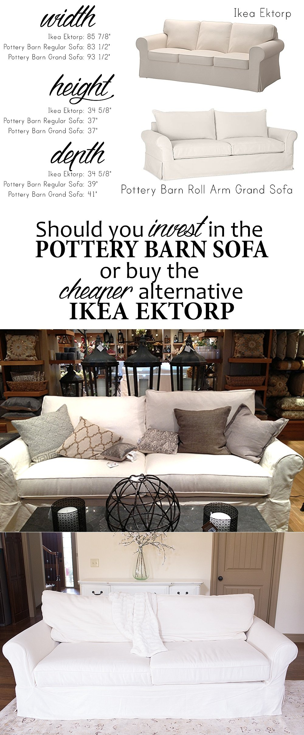 How To Choose A Couch ikea ektorp versus pottery barn grand sofa