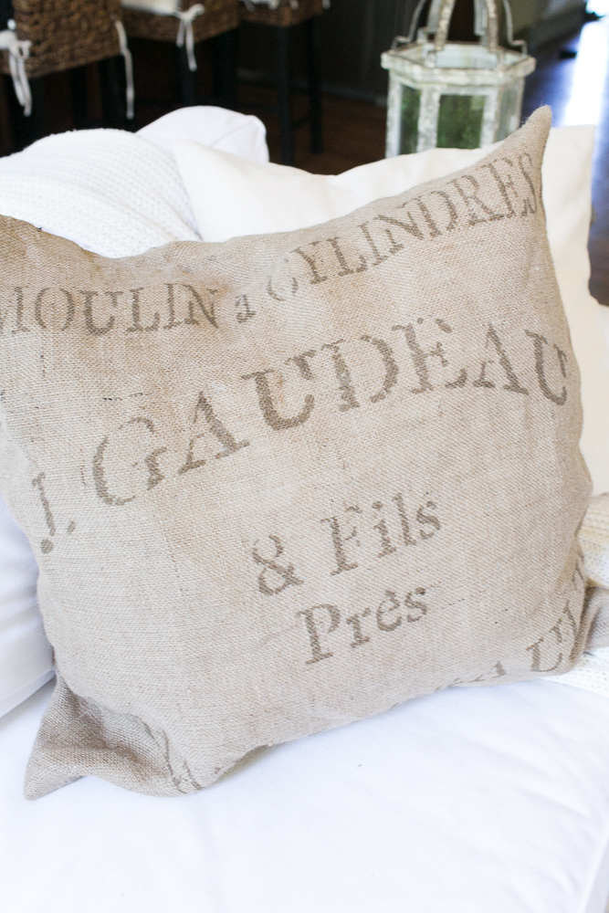 farmhouse style grain sack pillows burlap