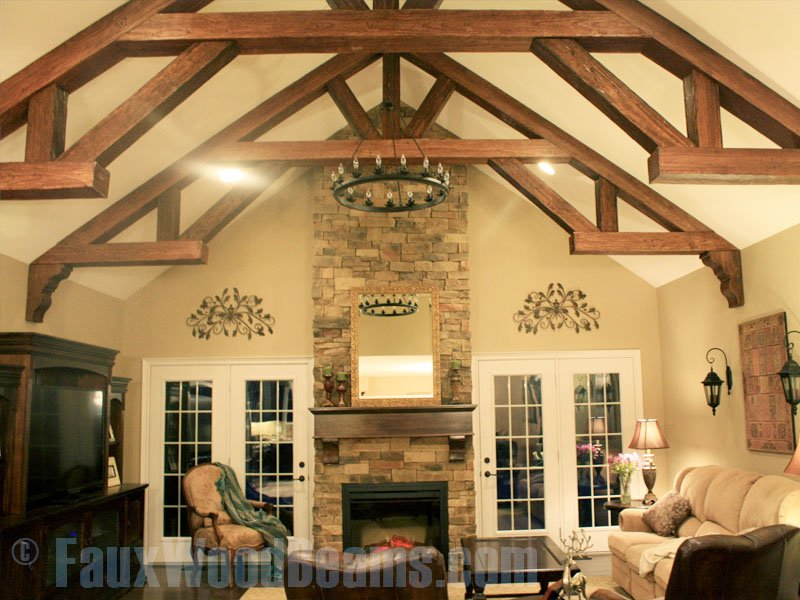 Faux wood beam ideas for vaulted ceilings for Coffered cathedral ceiling