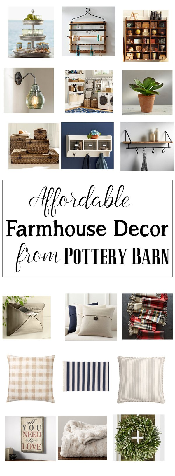 Affordable farmhouse decor from pottery barn for Cheap home decor websites