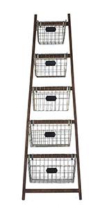 farmhouse wooden ladder storage