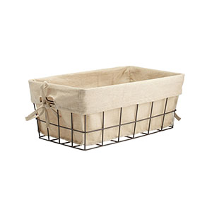 farmhouse wire basket with lining