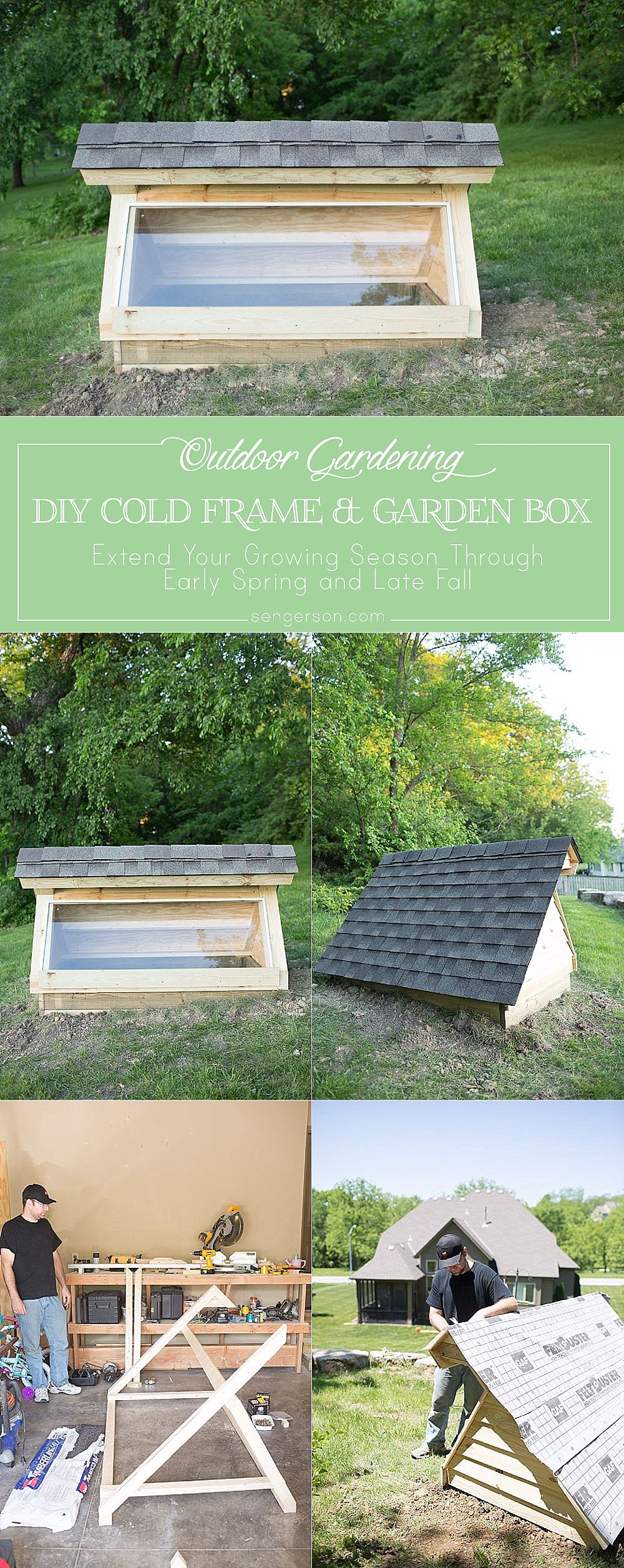 This is a DIY cold frame garden box and greenhouse all in one! It will allow you to extend your growing season from early spring to late fall and winter! It has a roof to help protect it from the elements as well as a guarding the cold frame from rainwater seepage! Awesome idea!