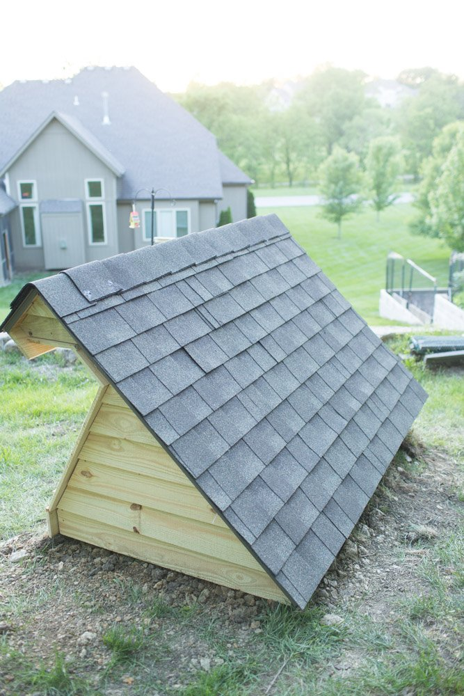cold frame with roof shingles