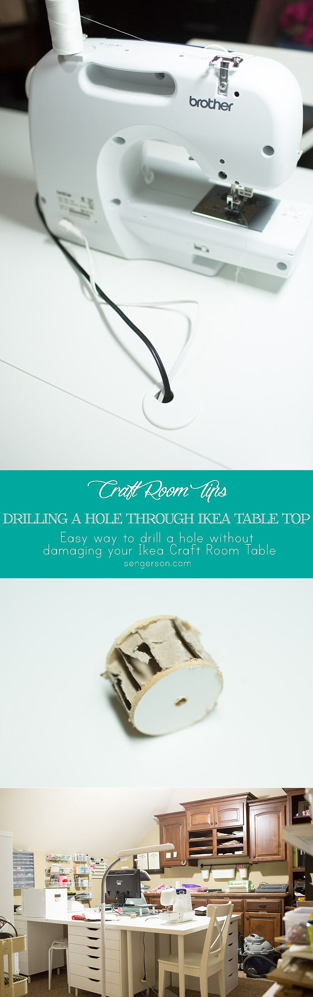 How to Drill a Hole in an Ikea Linnmon Table featured by top US DIY blogger, Sengerson: Craft room table top with Ikea Linnmon table - how to cut through linnmon table top without damaging it. Create a hole for the electrical wires.