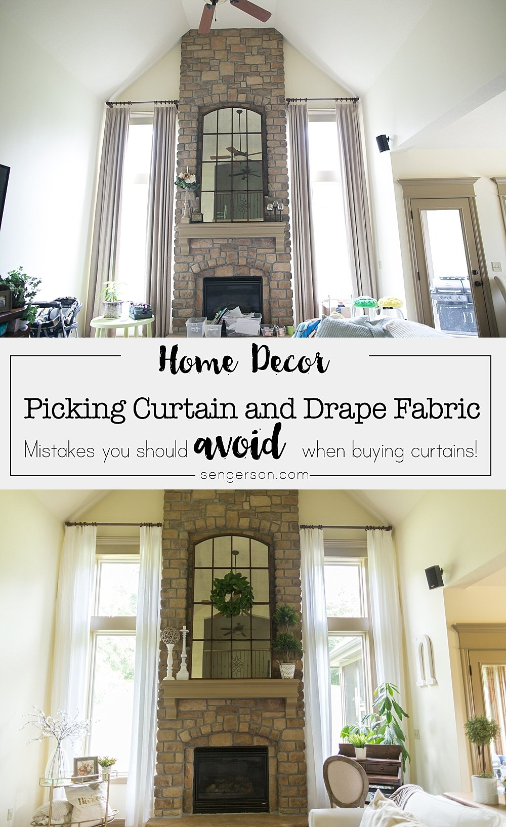 How to Choose the Best Color for your Two Story Curtains Farmhouse Style; tips featured by top US home decor blogger, Sengerson