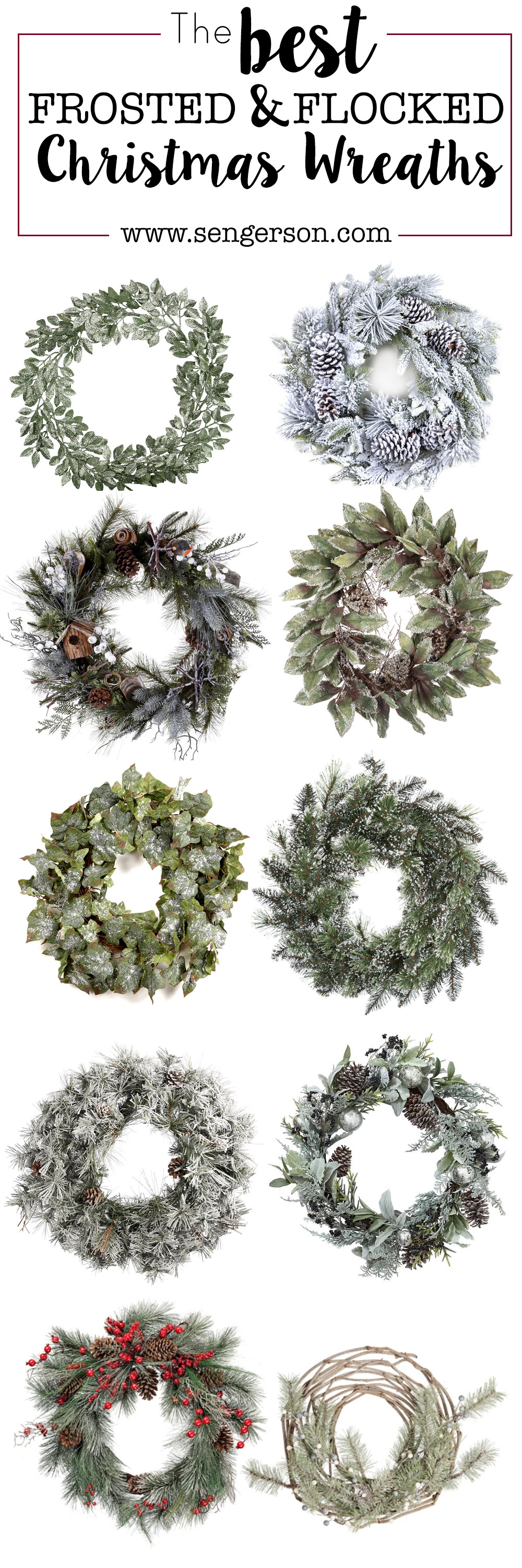 Roundup of Flocked Christmas Wreaths for the Holidays