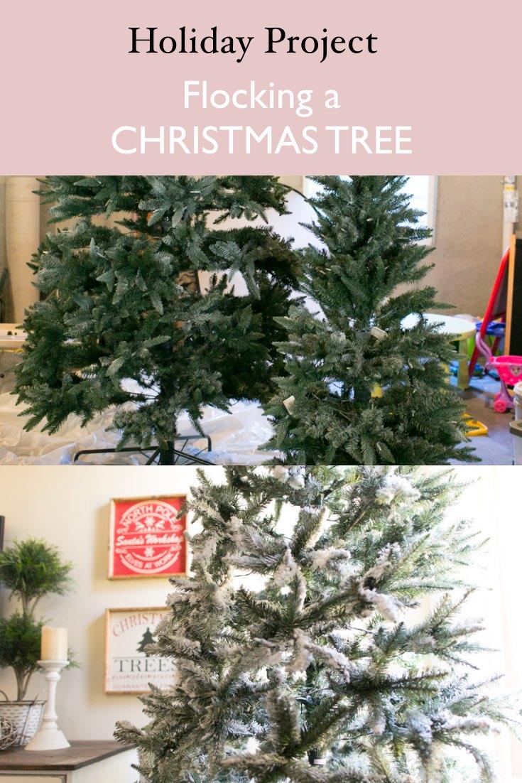 add fake snow to christmas tree faux flocking