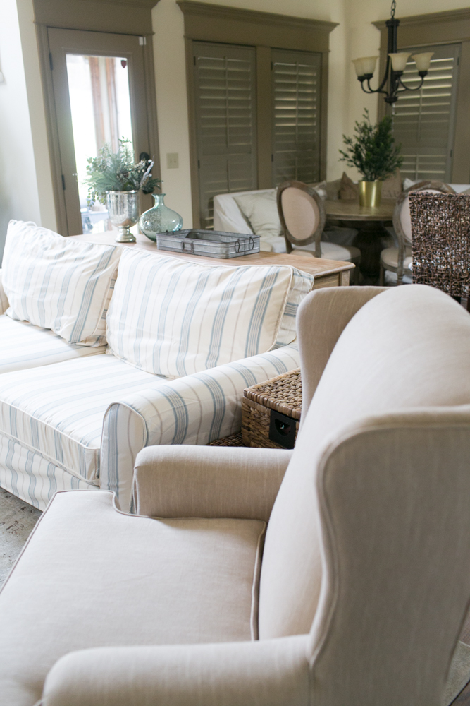 custom made couch slipcovers with wingback chair farmhouse style look