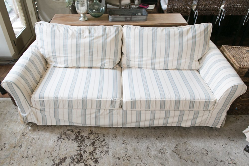 I Finally Decided On The Somerset Mint, Which Meant That I Can Use My  Already Neutral Pillows To It. I Measured My Sofa According To The Sheet  They Gave Me, ...