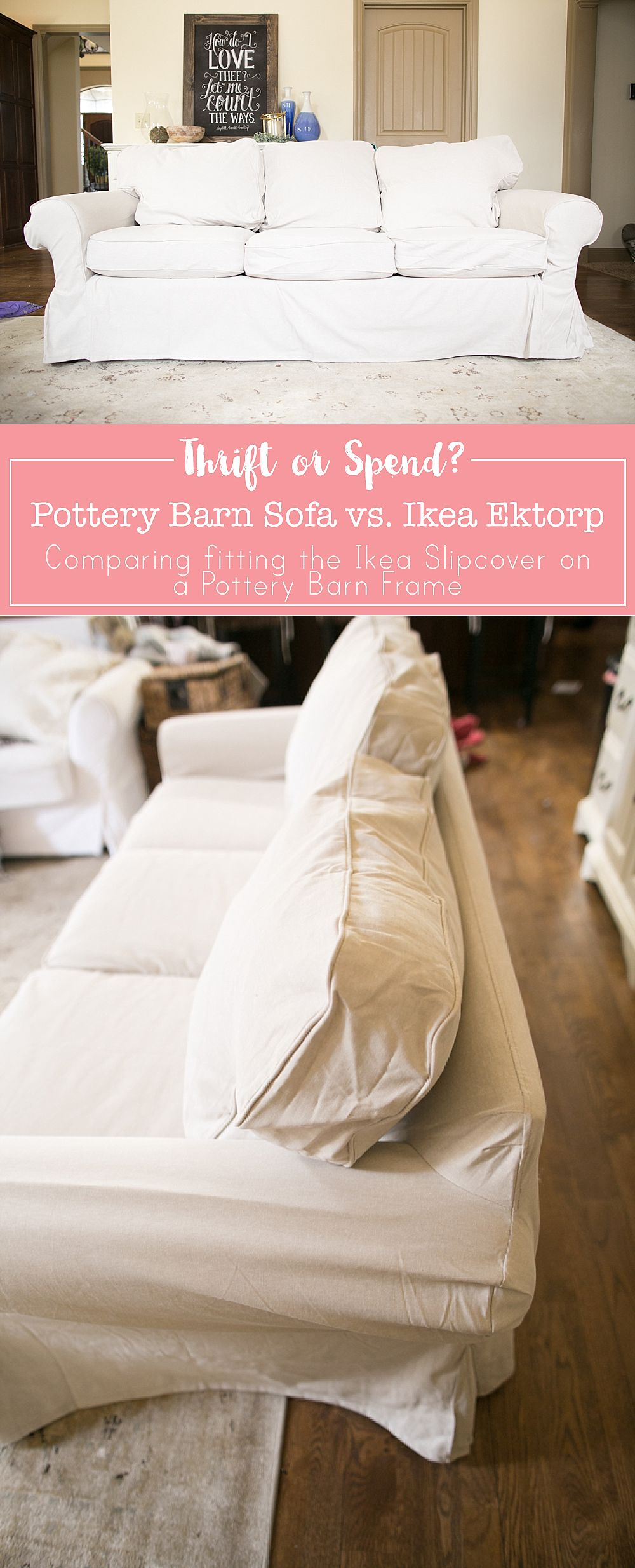Ektorp Sofa Cover on a Pottery Barn Basic Sofa featured by top US lifestyle blogger, Sengerson: ikea slipcovers for non ikea furniture - save money not having to buy Pottery Barn Slipcovers for your sofa