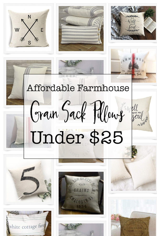 These are the most affordable grain sack pillows with the french, vintage, linen and farmhouse inspired look and feel. All these pillows are under $25 and the blog post contains the most affordable and inexpensive places to buy grain sack pillows!