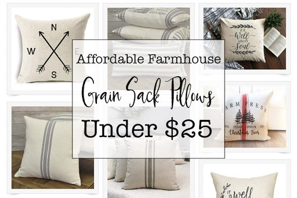 affordable grain sack pillows under $25